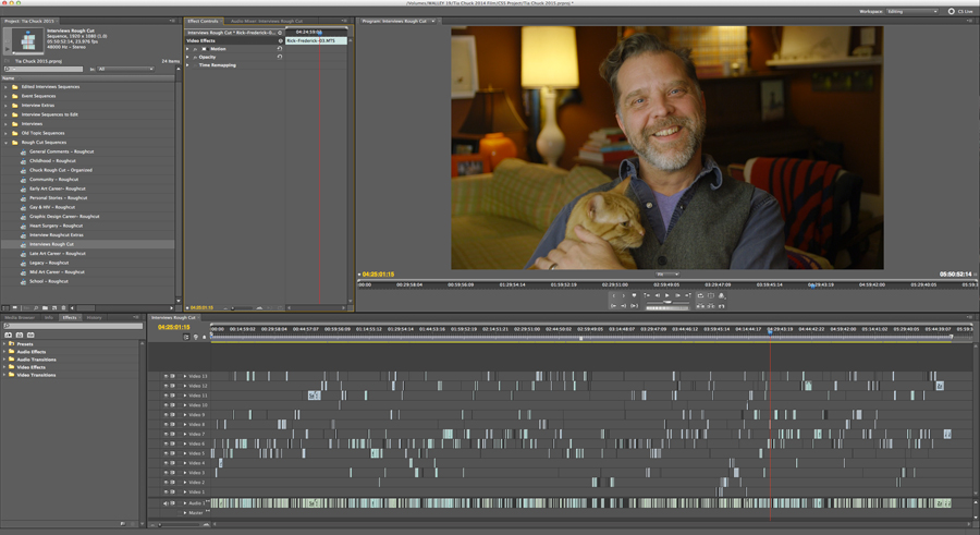 February Editing Timeline, Rick Frederick and Chuck the Cat #TiaChuck